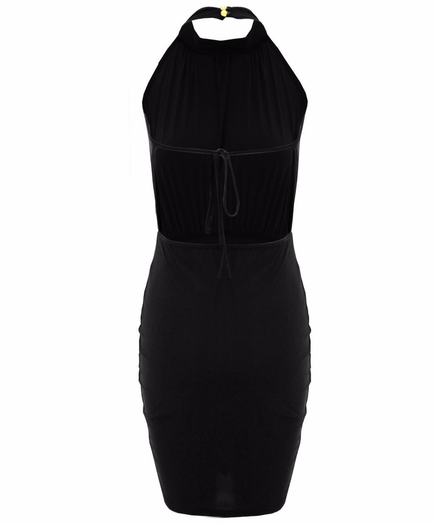 Slinky - Celeb Inspired - TOWIE - Open Tie Back Mini Dress - Navy