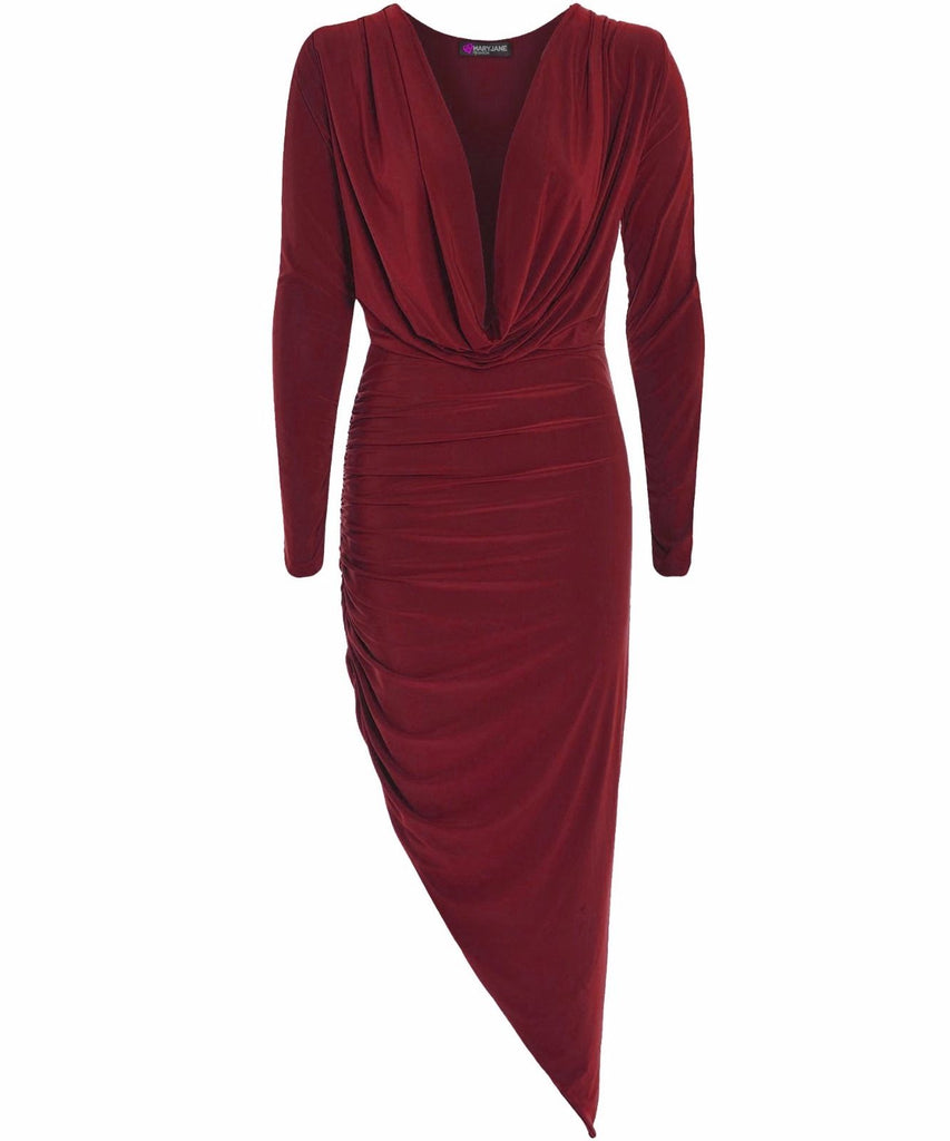 Slinky Asymmetric -  Cowl Neck Ruched Dress - Wine Red
