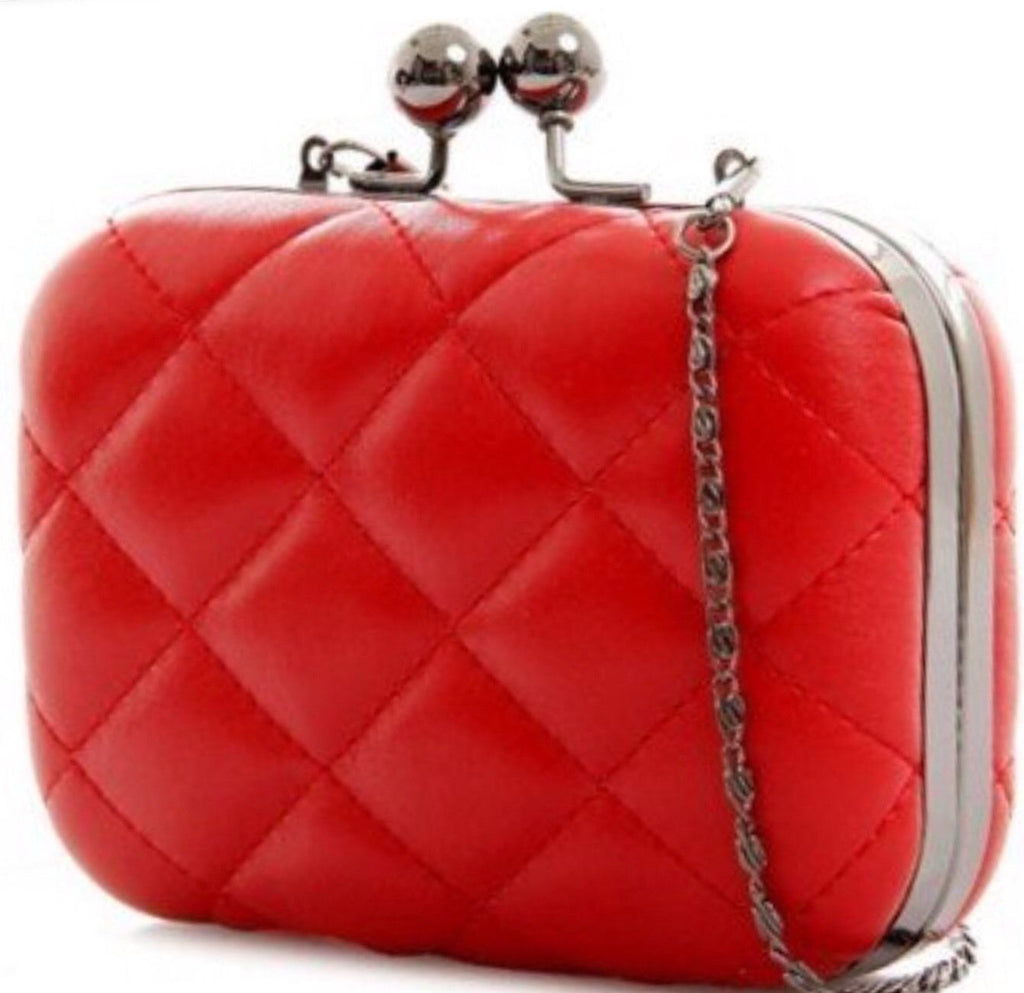 Red Padded Evening Clutch Bag