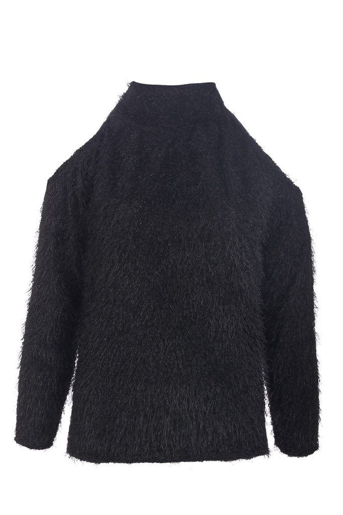 Black Fluffy Open Shoulder High Neck Jumper