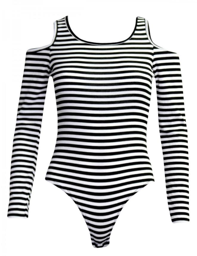 Stand Out - Striped Open Shoulder Monochrome Ribbed Bodysuit