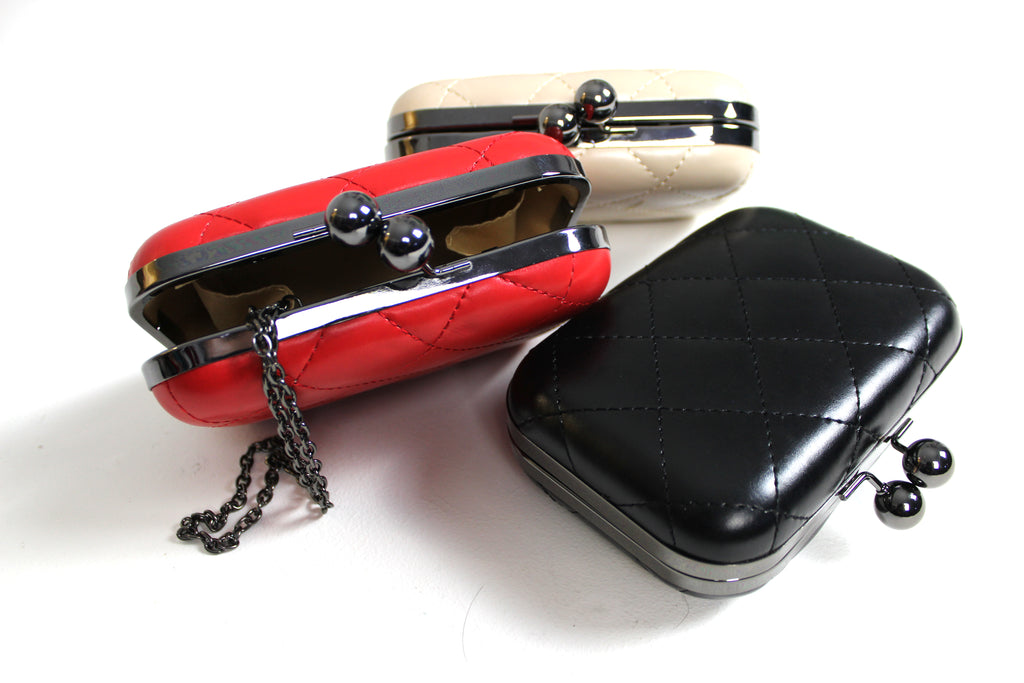Black Padded Evening Clutch Bag