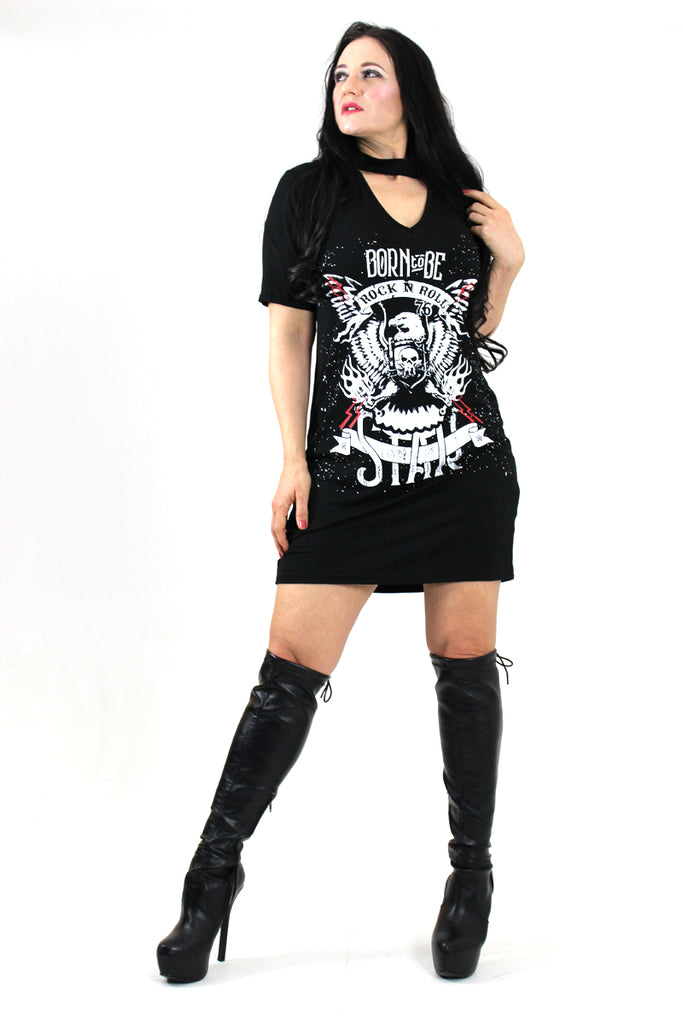 Born to Be a Rock Star Oversized T-Shirt Choker Dress