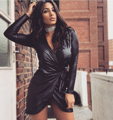 Black Leather Look Wrap Front Asymmetric Dress