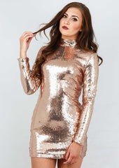 So Glam - Gold Sequin Mini Dress