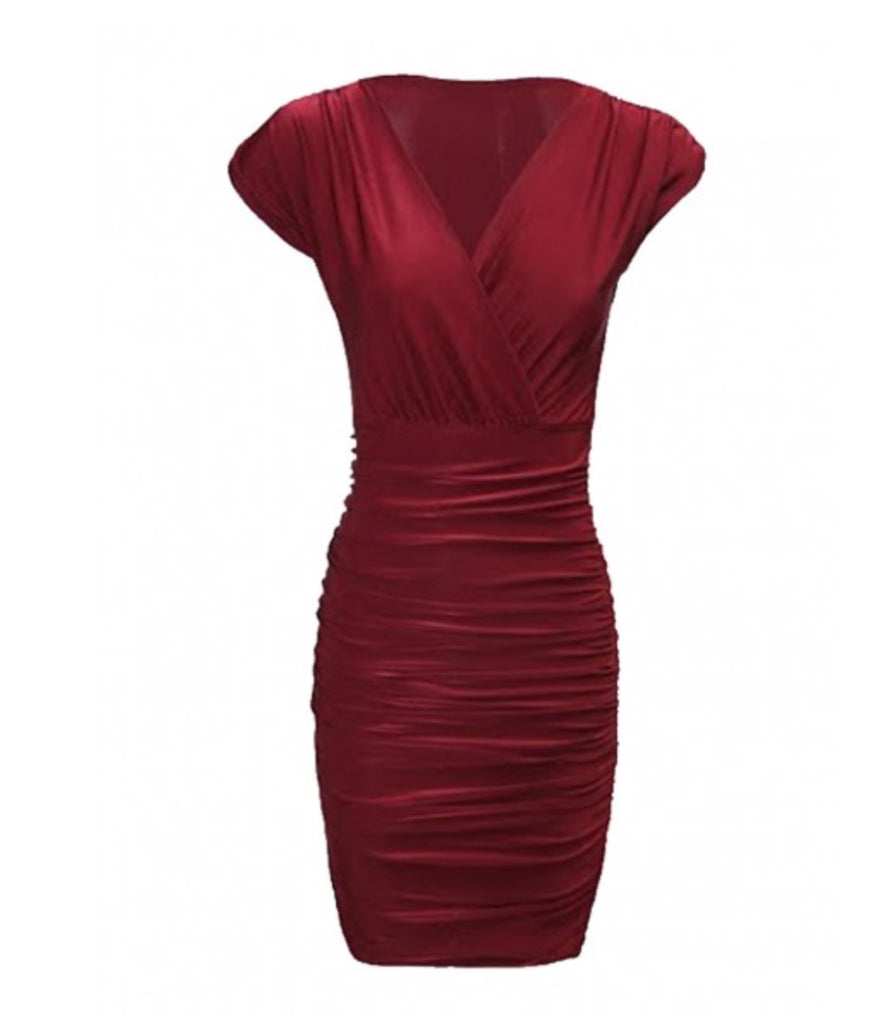 Slinky V Neck Gathered Wine Reed Bodycon Dress