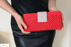Red Satin Sparkle Evening Bag