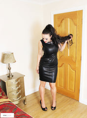 Luxe Leather - Classy Beaded Faux Leather Dress