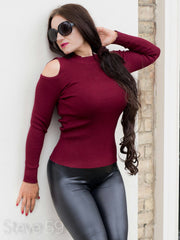 Scarlett - Wine Red Open Shoulder Top