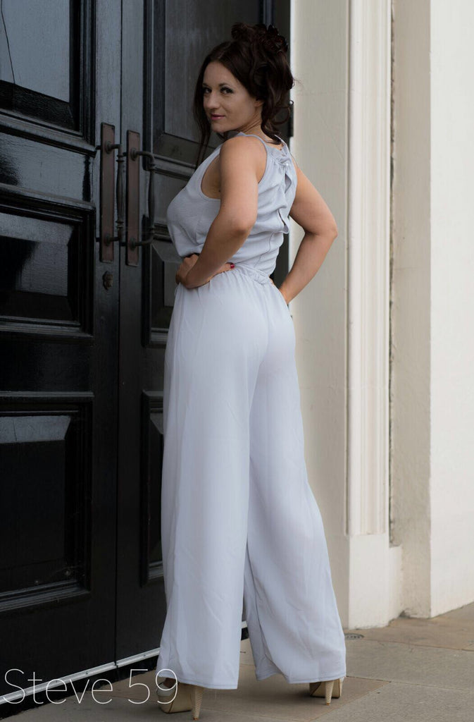 Heaven - Wide Flare Jumpsuit - Grey