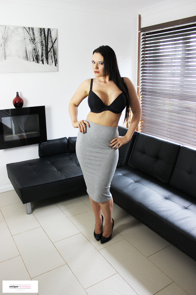 High Waisted Soft Jersey Pencil Bodycon Skirt - Grey