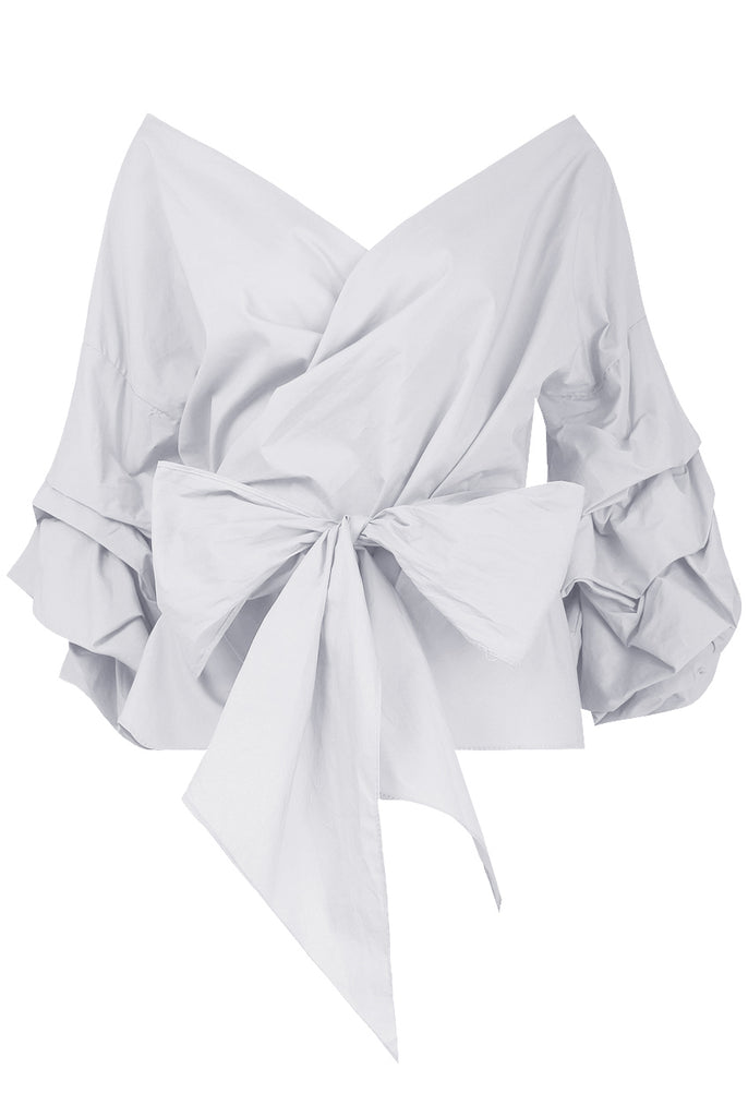 White Bow -Tie Cross Over Layered Long Sleeve Shirt Top