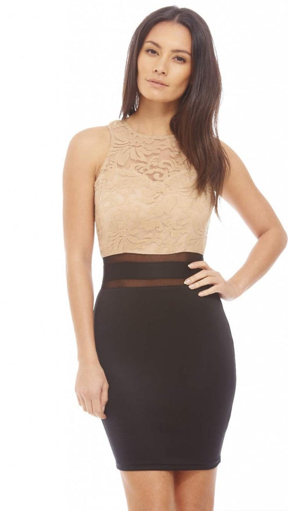 AX Paris - Lace Top Bodycon Pencil Dress - Beige/Black