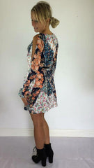 Summer - Crepe Floral Cut Out Shift Dress - Orange