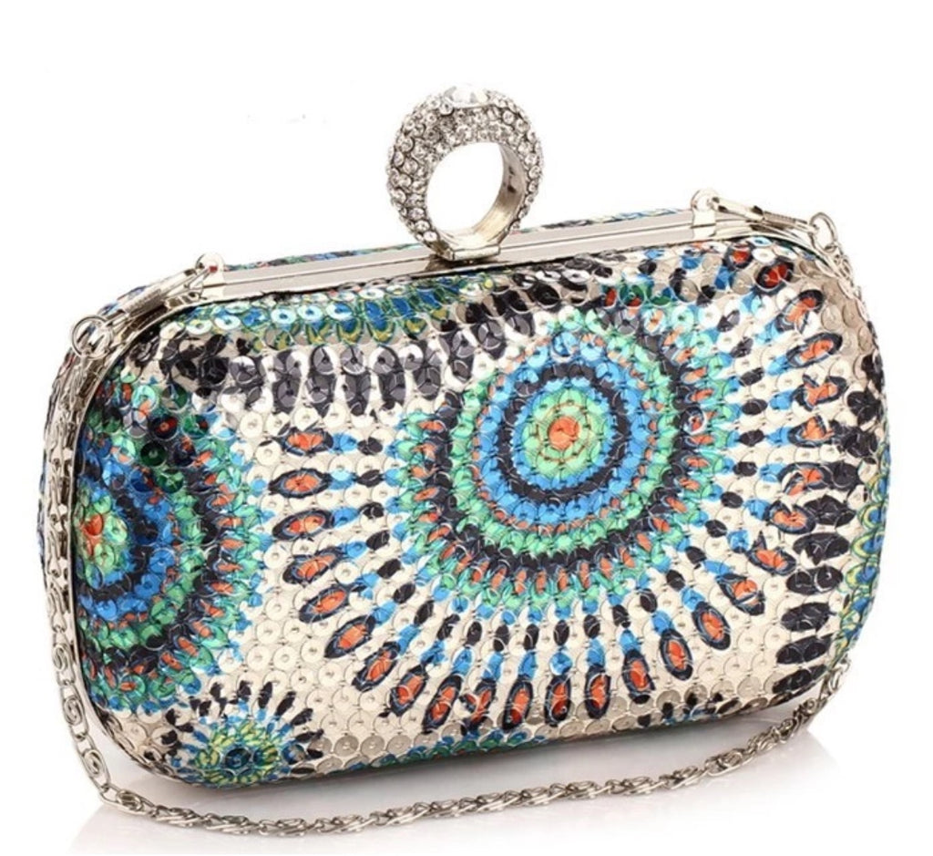 Peacock Sequin Clutch (Blue)