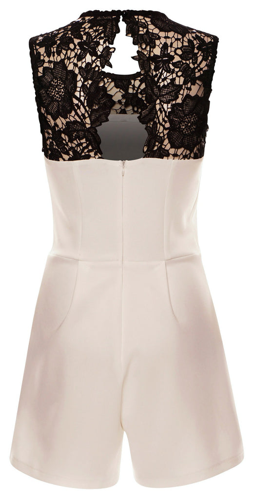 Play With Me - Ivory Black Floral Lace Playsuit - Monochrome
