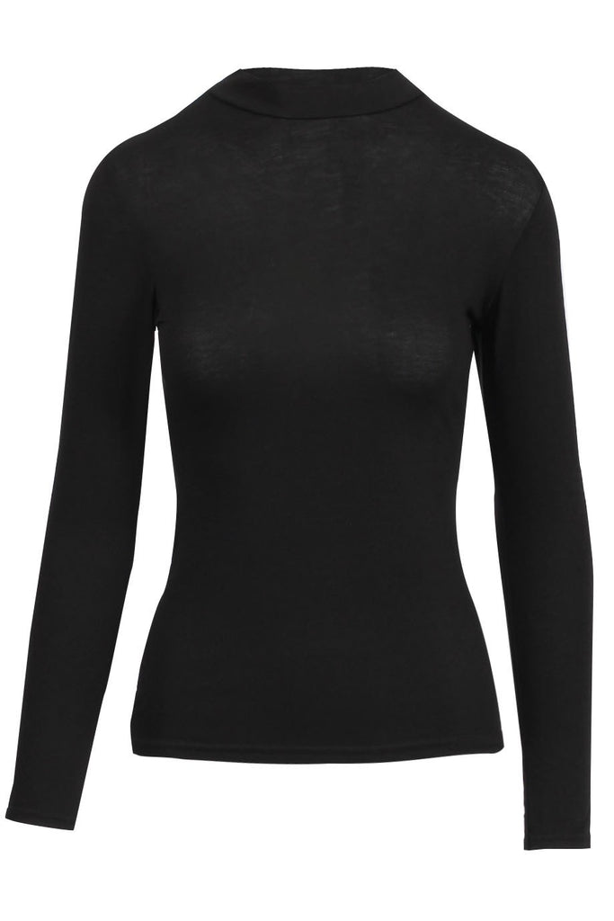 Chic - High Neck Jersey Top - Black