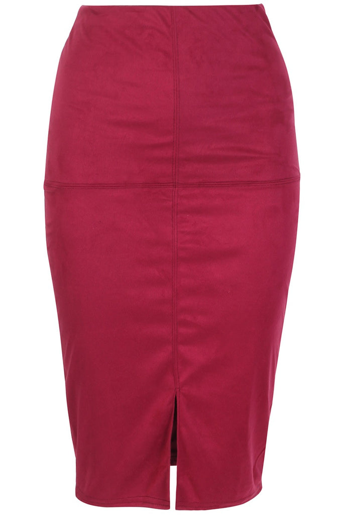 Dahlia Suedette - Soft Burgundy Red Faux Suede Pencil Skirt