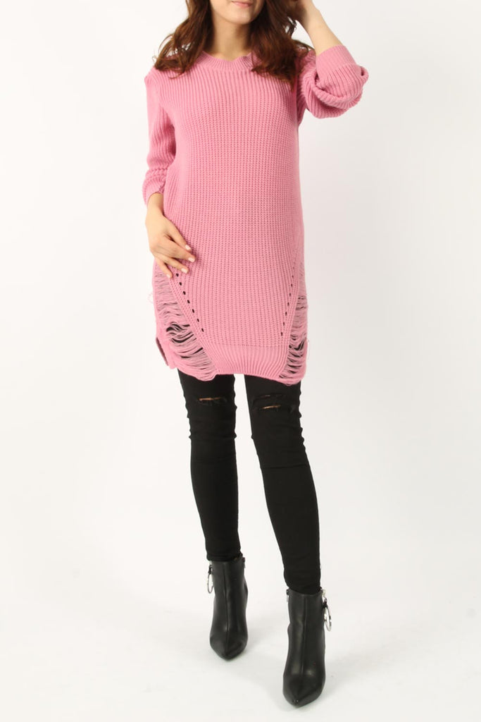 Doll - Celeb Inspired Long Distressed Knitted Jumper/Dress - Rose Pink