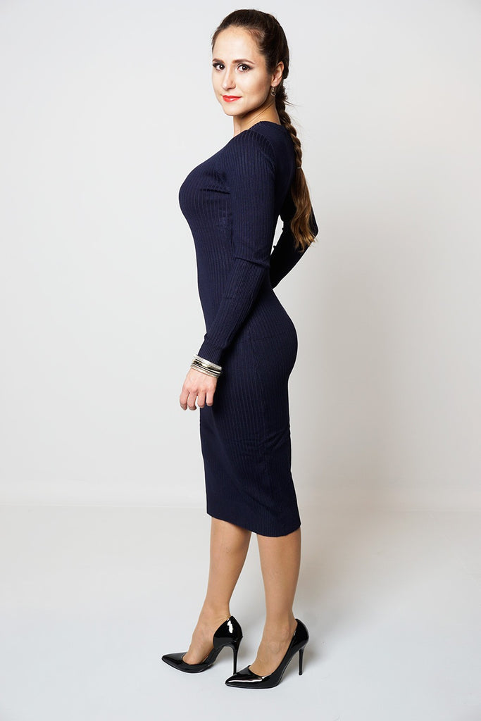 Babe - Knitted Long Sleeved Jumper Dress - Navy