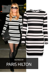Striking - Celebrity Inspired - Paris Hilton - Monochrome Stripe Bodycon Dress