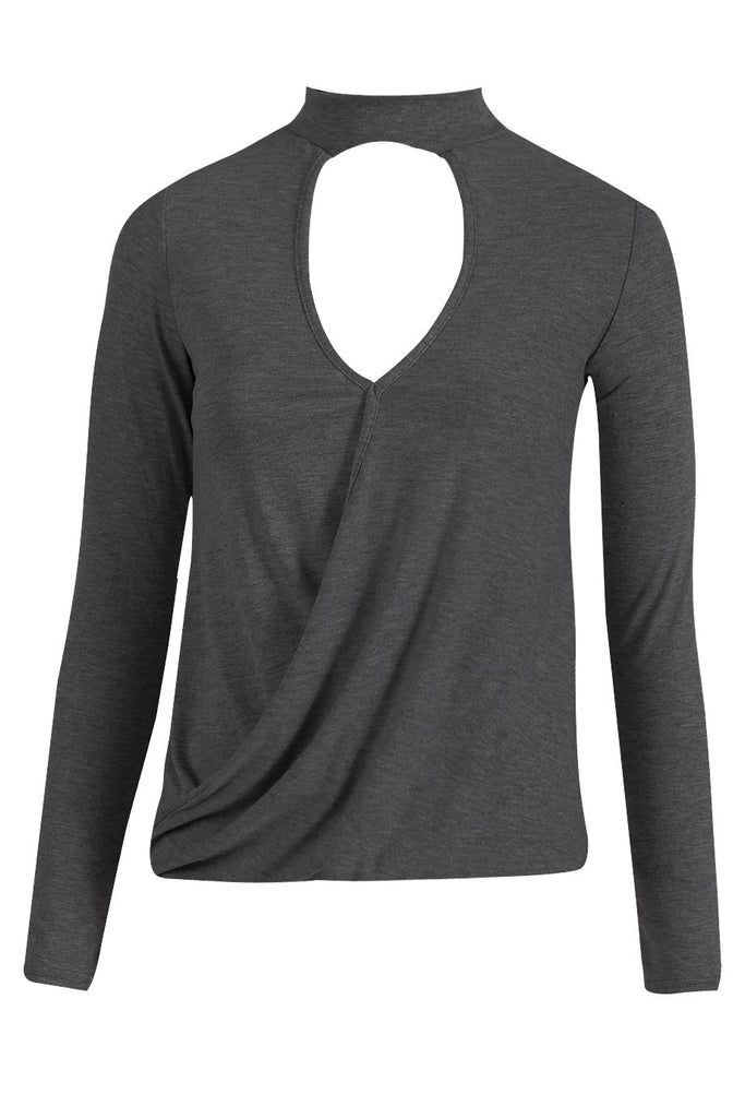 Charcoal High Neck Cross Over Top