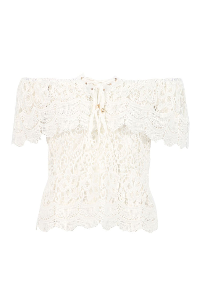 Gypsy - White Bardot Lace Eyelet Top