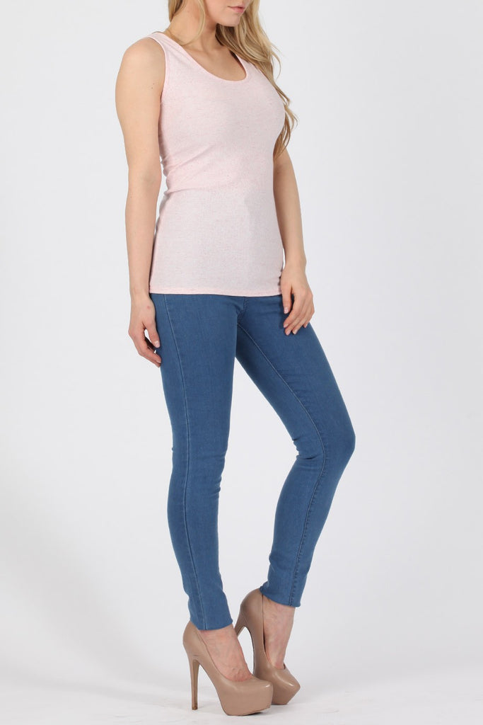 Speckled Pink Ribbed Vest Top