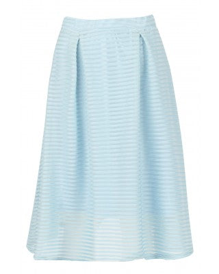 Baby - Celebrity Inspired - Sam Faiers - Mesh Stripe Baby Blue Skater Skirt