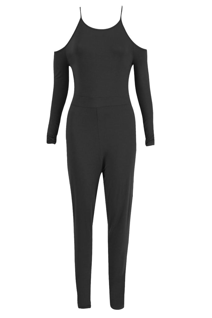 Play Thing - Open Shoulder Long Sleeved Jersey Jumpsuit