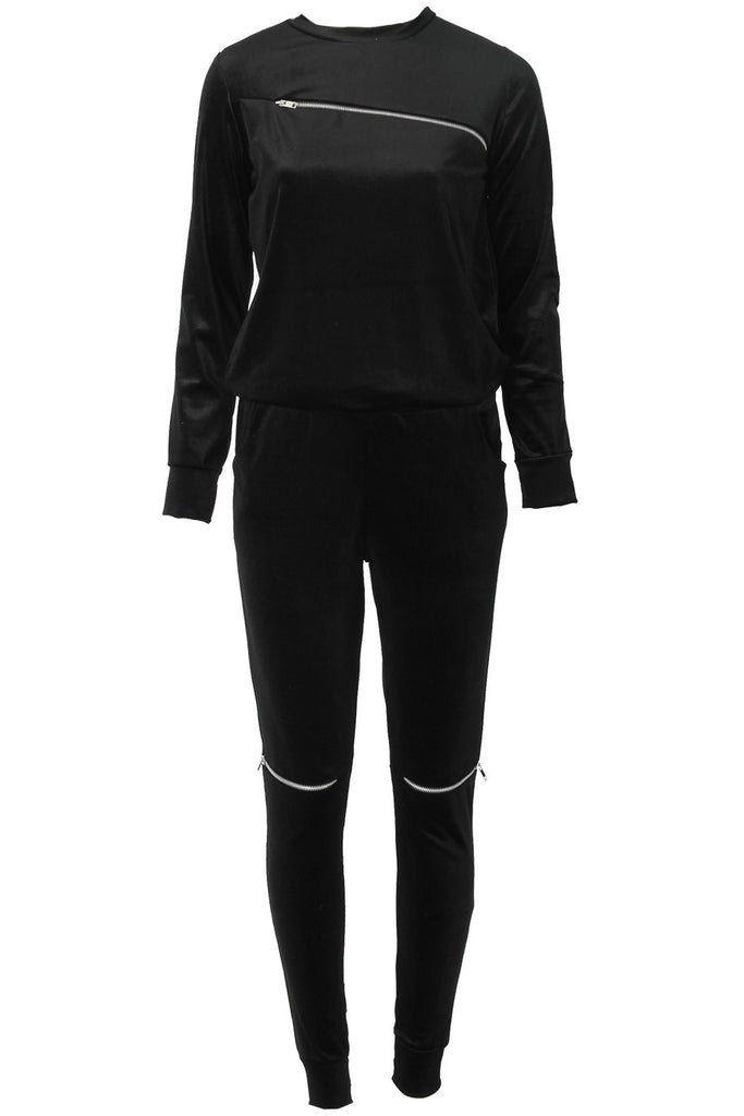 Hey Cutie - Casual Loungewear - Black Slash Zip Velvet