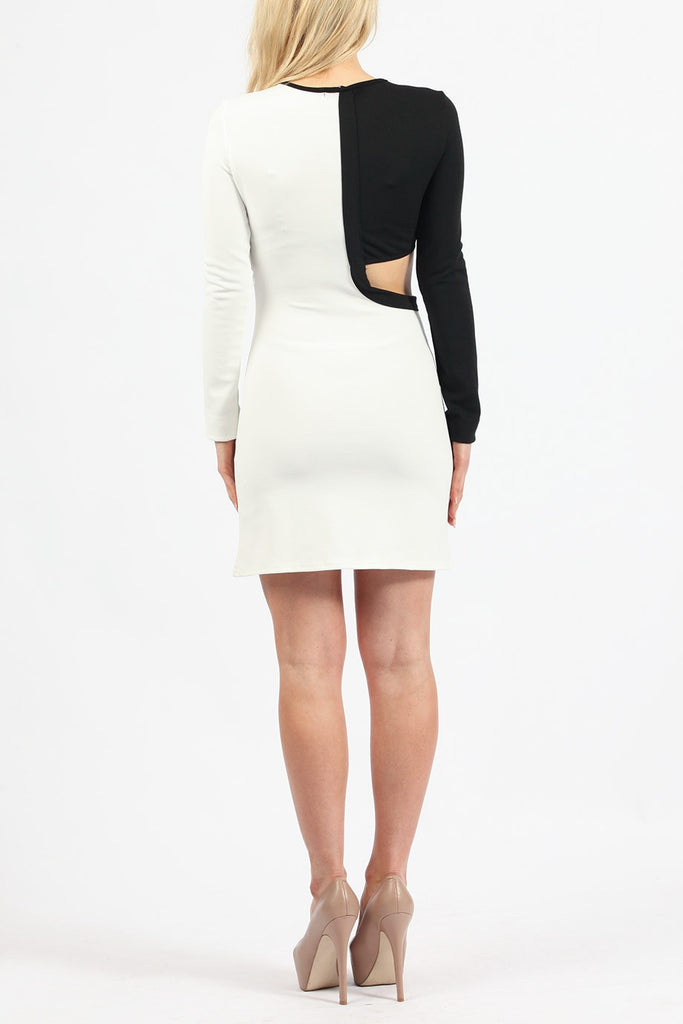 Abstract - Celebrity Inspired - Kylie Jenner - Monochrome Bodycon Dress