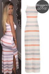 Nude Stripe Maxi Cami Dress