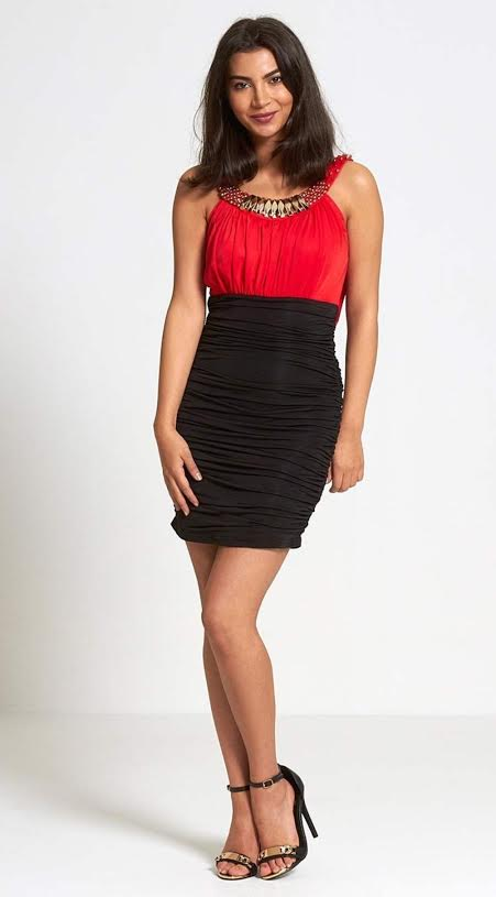 Divide - Ruched Red/Black Bodycon Mini Dress