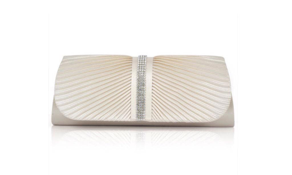 Cream Satin Sparkle Evening Bag