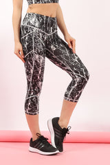 Activewear - Marble Print Cropped Vest Top & Leggings Set - Sportswear