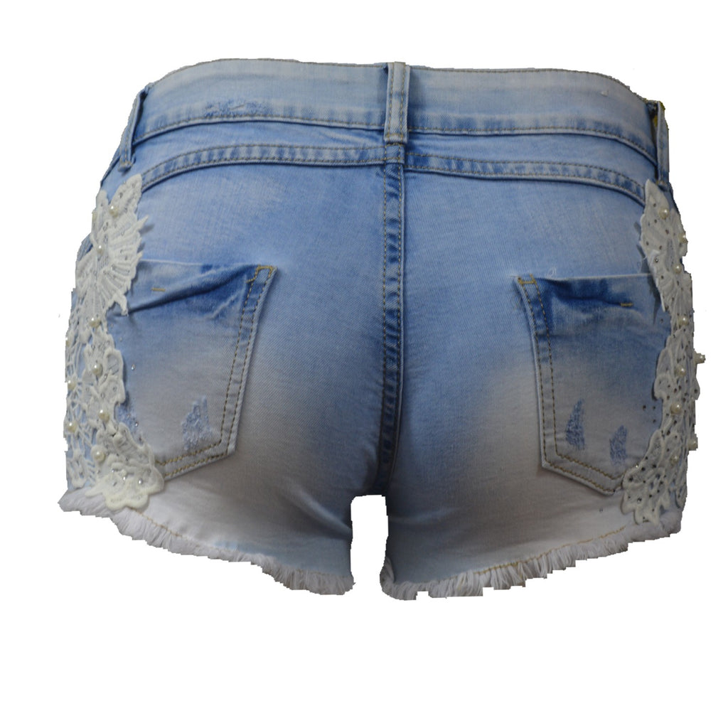 Ocean Waves - Distressed Denim, Pearl  & Lace Shorts - Light Blue