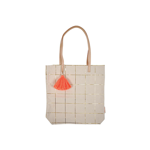 Gold Foil Grid Tote Bag