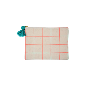 Neon Coral Grid Large Pouch