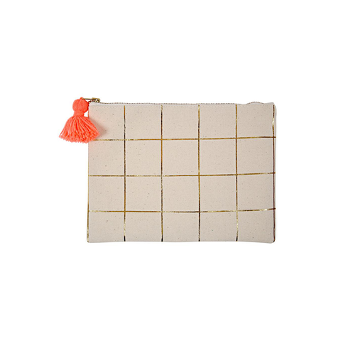 Gold Foil Grid Large Pouch