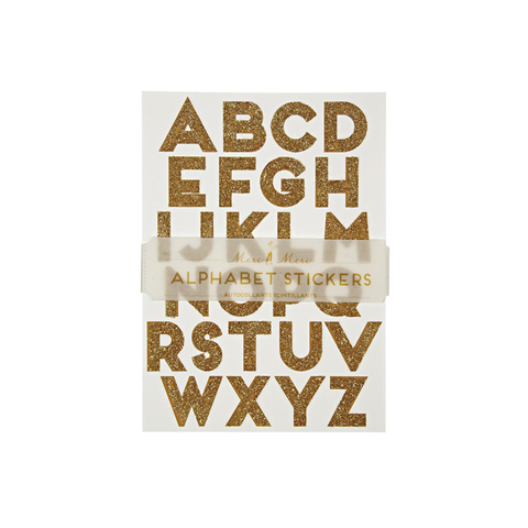 Glitter Alphabet Stickers Gold