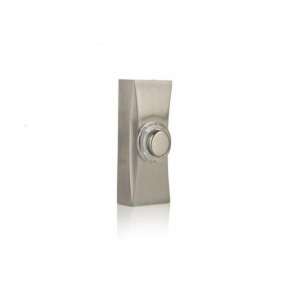 Byron 7960 Wall Mounted Wired Illuminated Lit Door Bell Push - Brushed Nickel