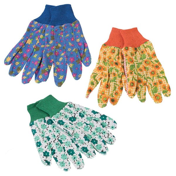 Silverline Ladies Floral Gardening Gloves Medium (3 Pairs)