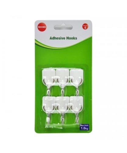 6 Pack Mini Adhesive Hooks Damage Free