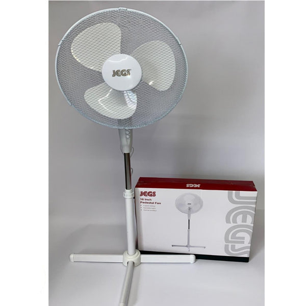 "JEGS 16"" Oscillating Pedestal Fan With 3 Speed Control Quiet 45W White"