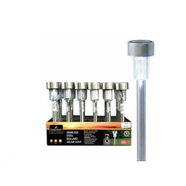 GardenKraft White LED Bollard Light Stainless Steel[2 X LIGHTS]