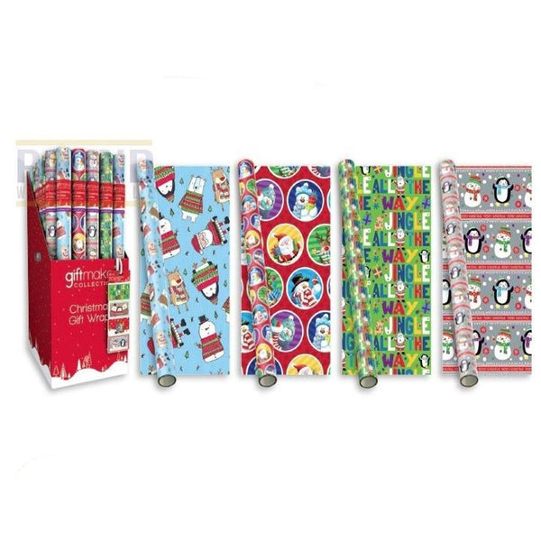20 METRES (4 X 5 METERS) KIDS CHRISTMAS WRAPPING PAPER NOVELTY SANTA & FRIENDS THEME