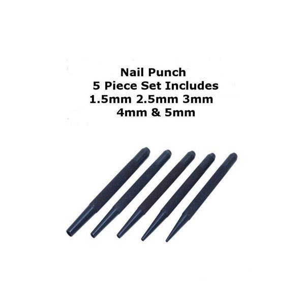 Silverline PC14 Nail Punch Set 1.5, 2.5, 3, 4 and 5mm (5 Piece)