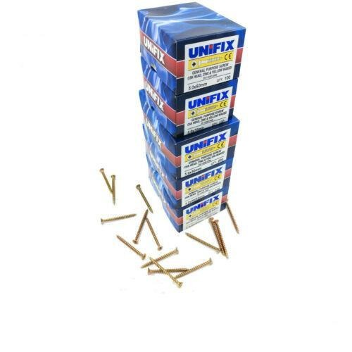 UNIFIX CSK WOOD SCREWS POZI DRIVE CHIPPY TIMBER ZINC & YELLOW RECESSED PREMIUM[5mm x 50mm (Quantity 200)]