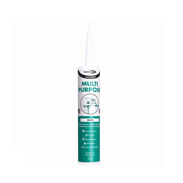 Bond It Multi-Mate Multi Purpose Sanitary Silicone Sealant In White - Mould Resistant